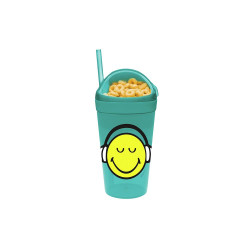 SMILEY - Mug avec compartiment goûter et paille - bleu aqua
