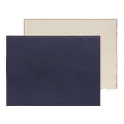 Set de table bicolore réversible - rectangulaire - bleu marine/beige