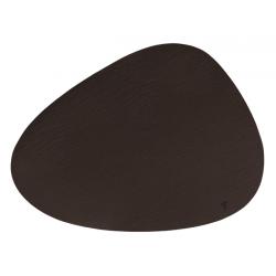 Set de table cuir recyclé galet - marron foncé