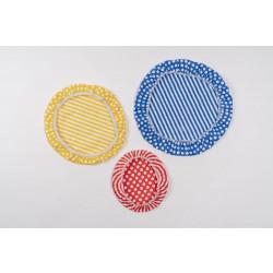 Set de 3 couvre-bols assortis 100% coton (sans cire d'abeilles)