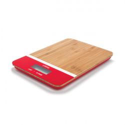 Balance de cuisine en bambou - rouge