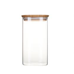 Boite en verre carré avec couvercle en bambou - 1,4 L