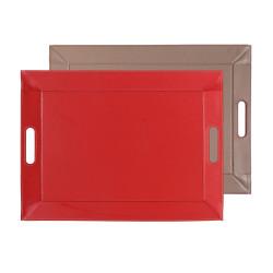 Plateau bicolore réversible M - rouge/taupe