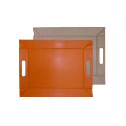 Plateau bicolore réversible S - orange/taupe