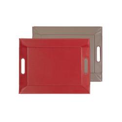 Plateau bicolore réversible S - rouge/taupe