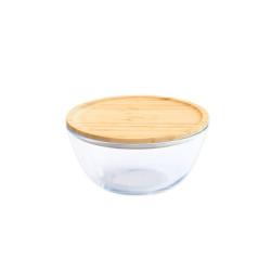Bol à mixer rond -  avec couvercle en bambou - 1,6 L